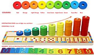 Toys of Wood Oxford Wooden Stacking Rings and Counting Games with 45 Rings Number Blocks- Counting Ring Stacker-Wooden Sorting Counting Toy for 3 Years Old Kids Maths Learning Montessori Materials