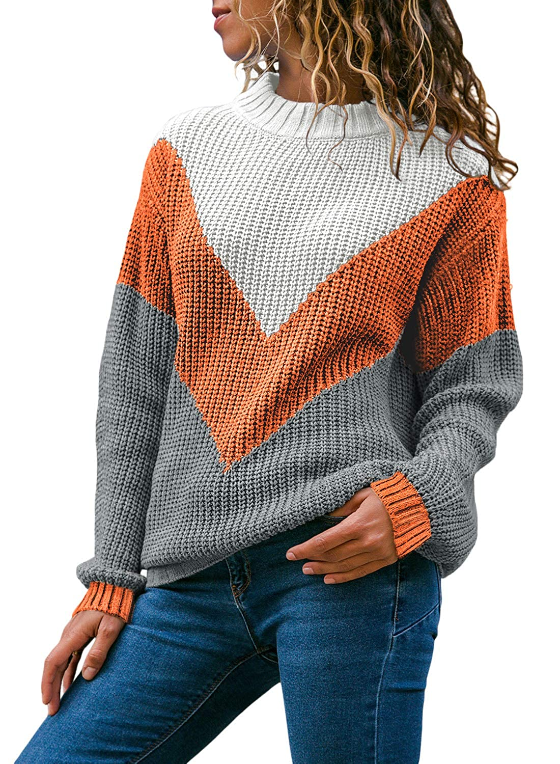 LOSRLY Women Round Neck Color Block Long Sleeve Knitted Sweater Tops Pullover Jumper YL27913