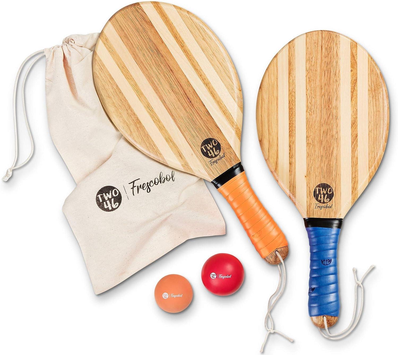 two46 | Set de Palas de Playa Premium | Frescobol - El Deporte de Moda en Sudamérica | Palas de Madera Hechas a Mano. Selección de Bola y Funda de algodón.