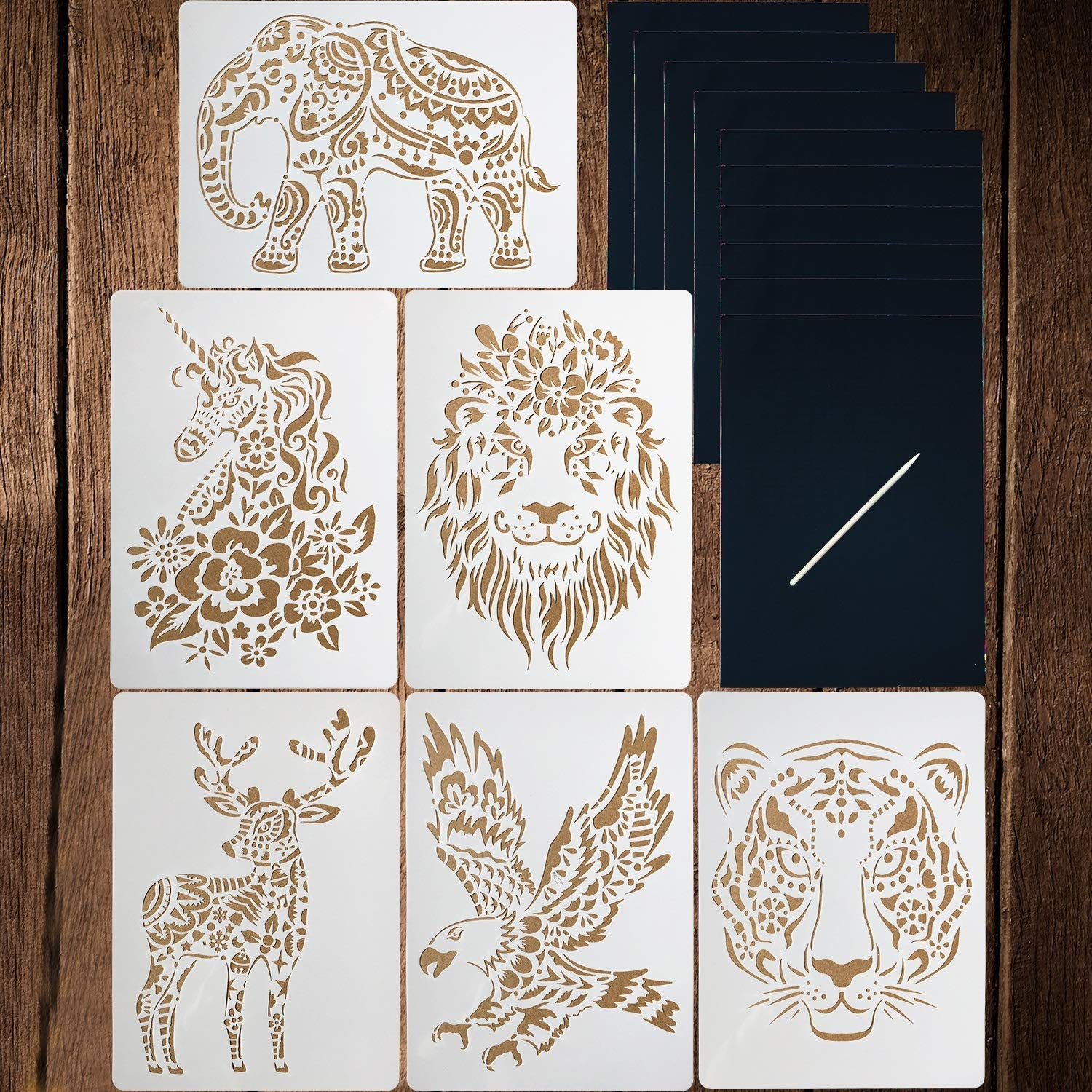 6 Pieces Animal Stencils Kids Craft Stencil Plastic Reusable Painting Stencils for DIY Kids Art Craft Project with 10 Sheets Rainbow Scratch Paper