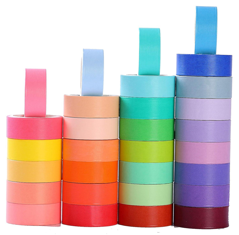 nieuwste ontwerp beste goedkoop officiële winkel 30 Rolls 15mm Wide Washi Masking Tape Set, Colorful Rainbow Tape,Decorative  Writable Craft Tape for DIY Scrapbook Designs