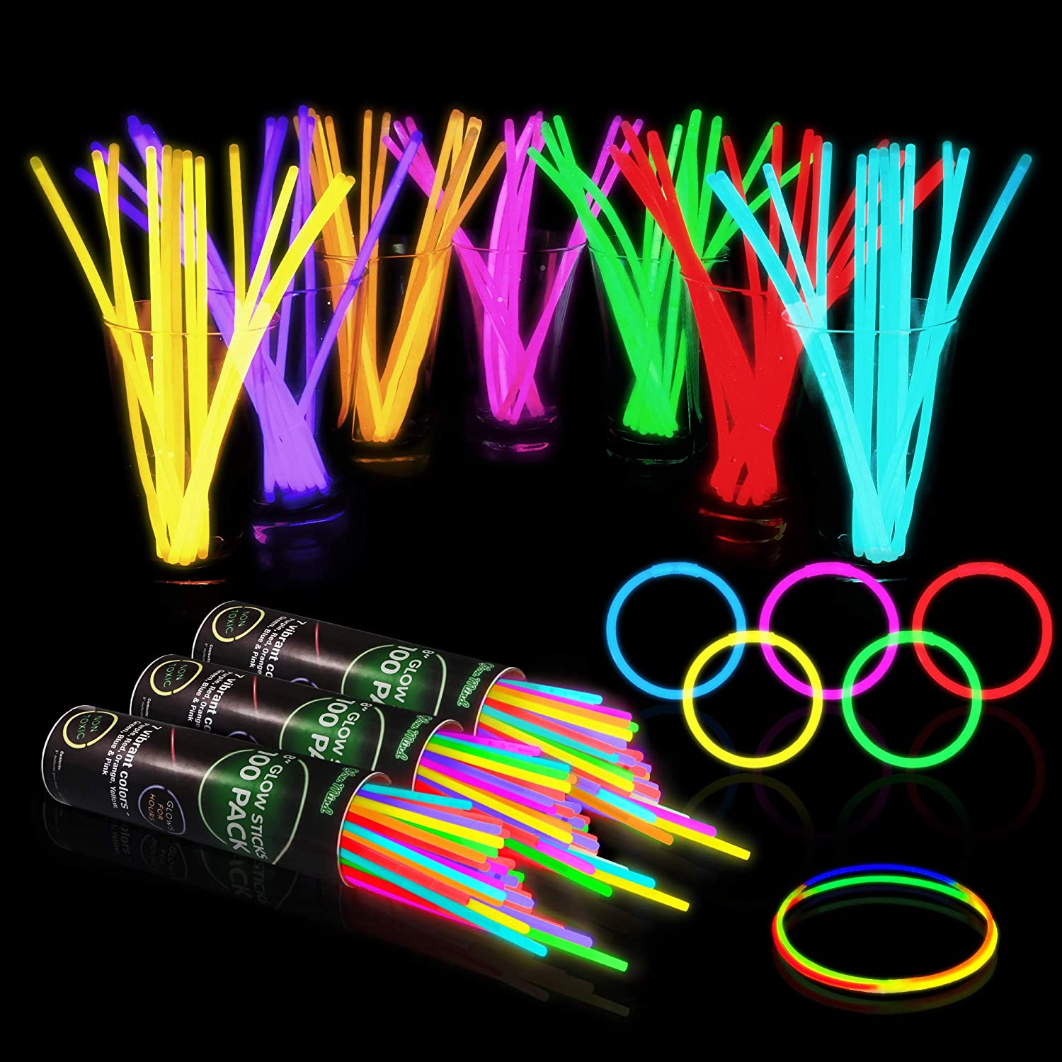 "300 Glow Sticks Bulk Party Supplies - Halloween Glow in The Dark Fun Party Pack with 8"" Glowsticks and Connectors for Bracelets and Necklaces for Kids and Adults"