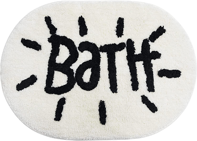 White Bathroom Rugs and Mat Oval Cute Bath Mat for Bathtub Cartoon Bathroom Decor Soft Kids Bath Rugs Plush Absorbent Non-Slip Foot Mat Machine Washable Toilet Rug