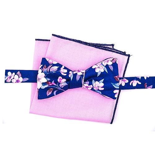 Herren Anzug Fliege blau mit rosa Blumen zum Binden Selbstbinder-Querbinder