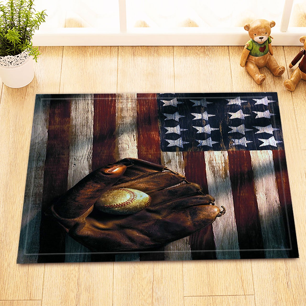 LB Baseball Gloves Ball American Flag Background Decor Rugs for Bathroom Floor, Safe Non Slip Rubber Backing Comfortable Soft Surface, American Sports Culture Decor Rug 15 x 23 Inches