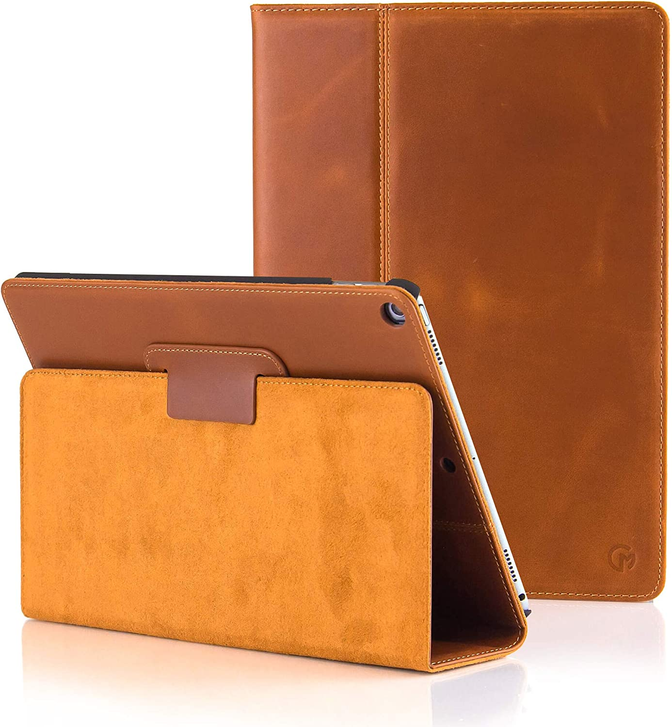 CASEMADE iPad 9.7 inch Real Leather Case (5th/6th Generation 2017/2018) - Premium Luxury Italian Slim Cover/Smart Folio with Dual Stand and Auto Sleep/Wake (Tan)
