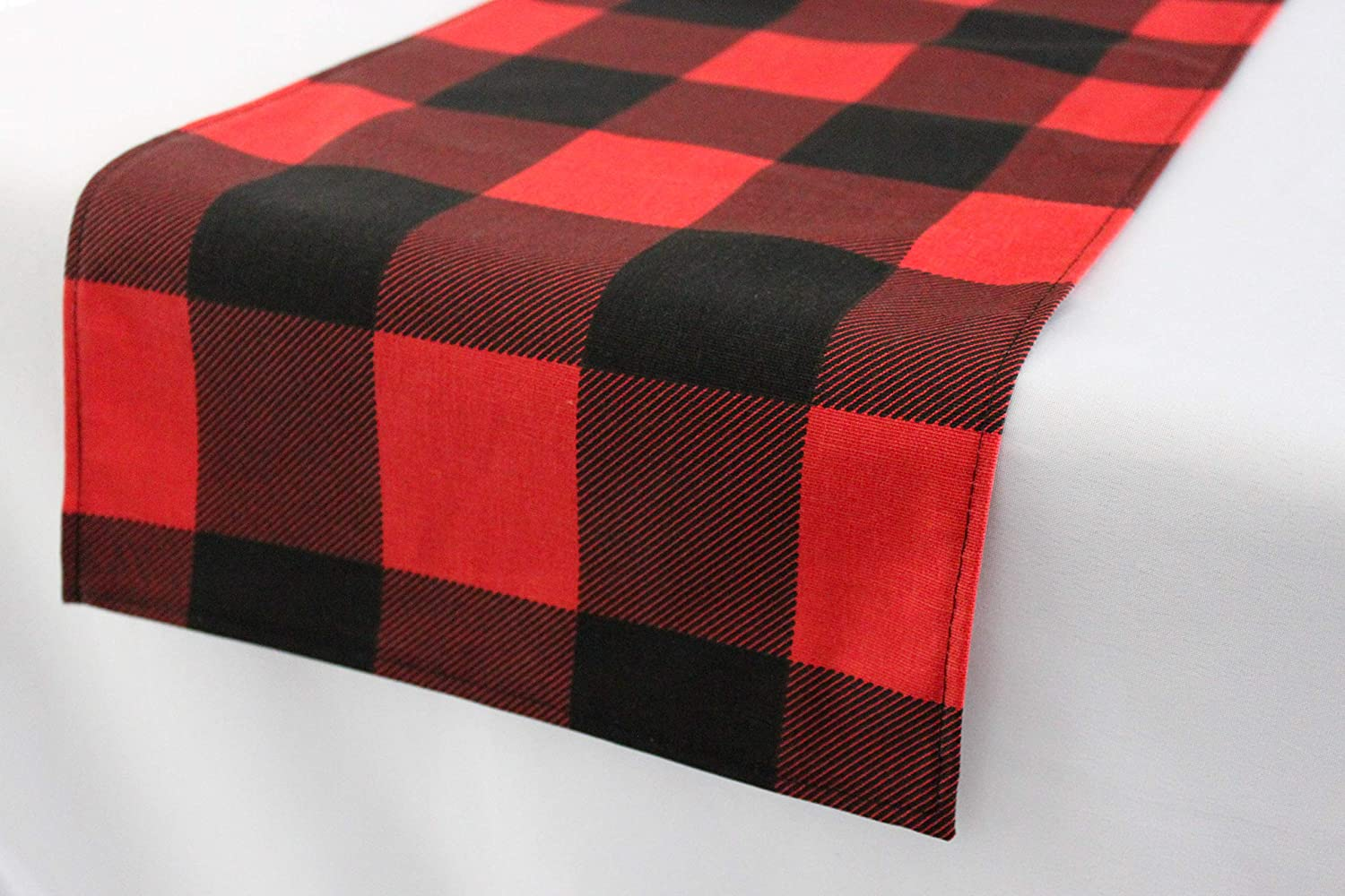 12x144 inches Red and Black Buffalo Check Farmhouse Christmas Table Runner