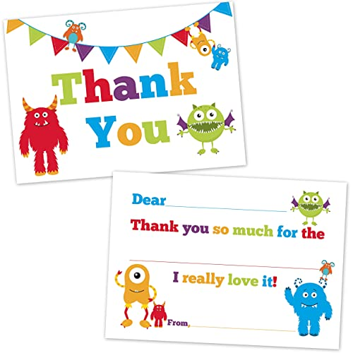 Cute Monster Fill In Thank You Cards for Kids - (20 Count with Envelopes)