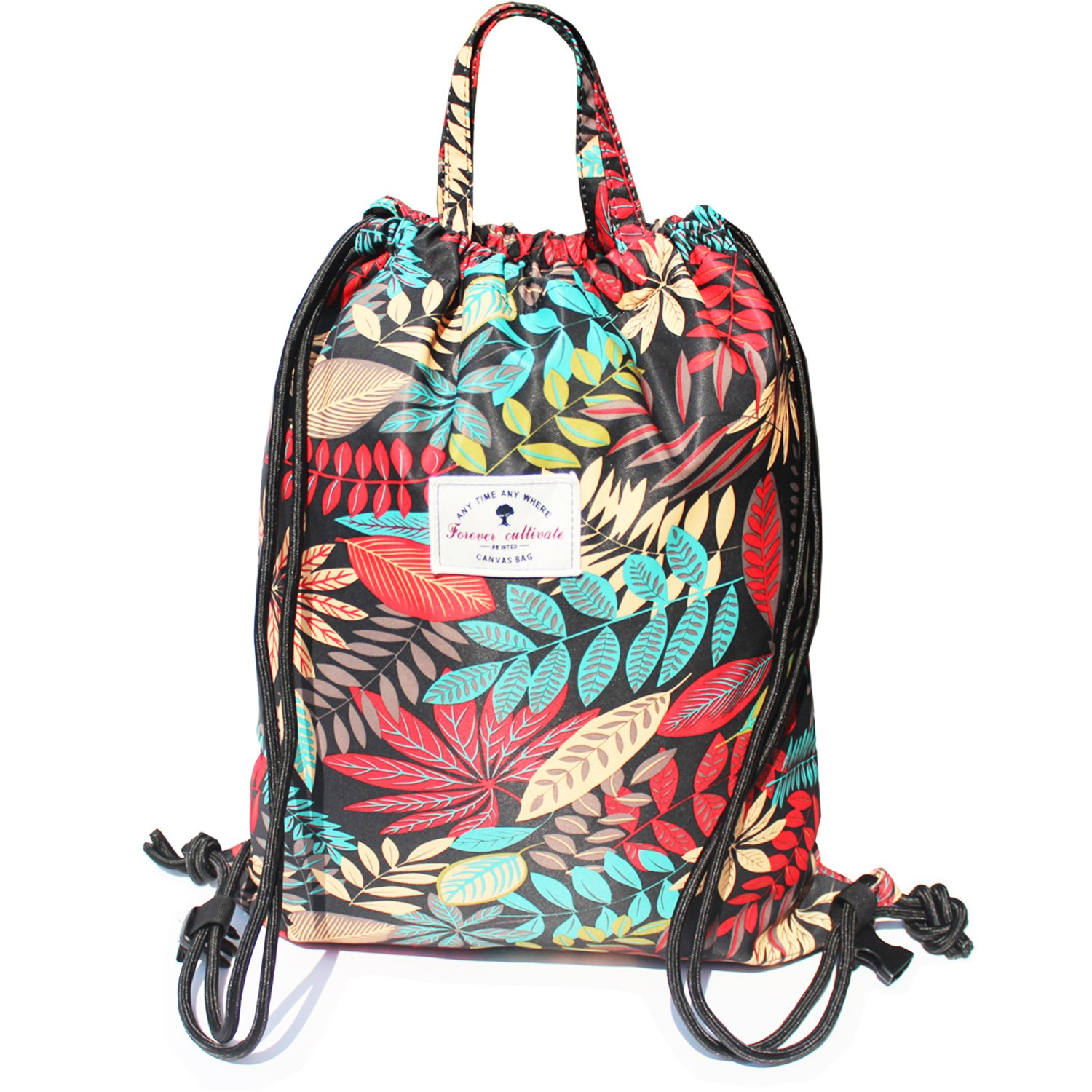 Drawstring Backpack Original Floral Leaf Tote Bags Sackpack for Shopping Yoga Gym Hiking Swimming Travel Beach 2 Sizes&20 Patterns by ESVAN (Image #1)