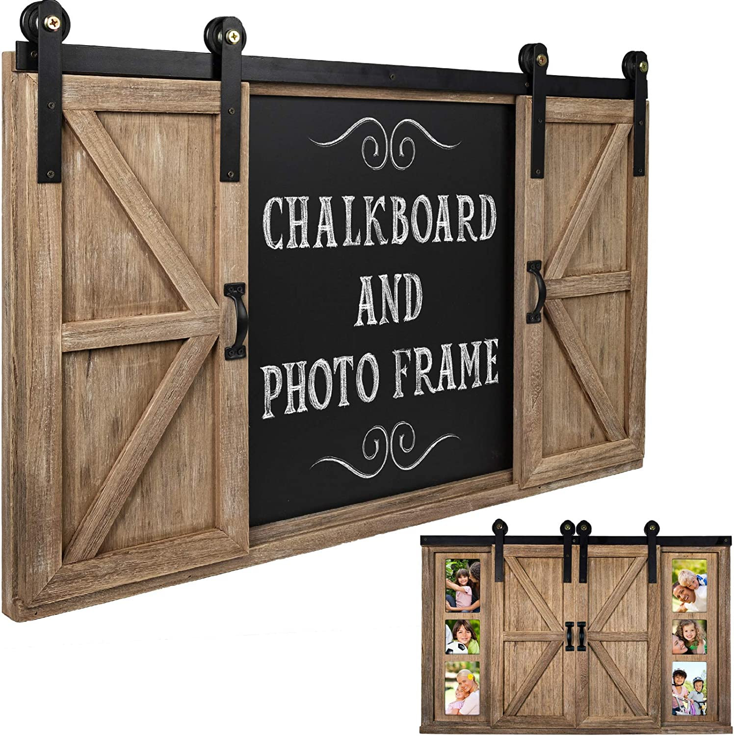 Rustic Wood Chalkboard with Four 4x6 Hideaway Photos: Large Wall Mounted Magnetic Chalk Board, Perfect for Kitchen Décor, Restaurant Menu, Bulletin Sign