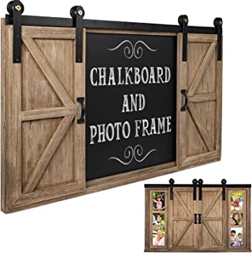 Amazon Com Rustic Wood Chalkboard With Four 4x6 Hideaway Photos Large Wall Mounted Magnetic Chalk Board Perfect For Kitchen Dcor Restaurant Menu Bulletin Sign Office Products