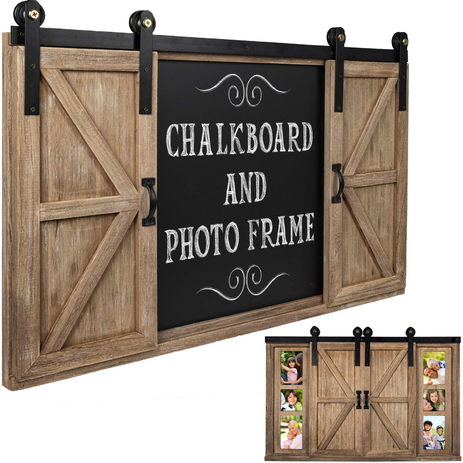 Rustic Wood Chalkboard with Four 4x6 Hideaway Photos: Large Wall Mounted Magnetic Chalk Board, Perfect for Kitchen Décor, Restaurant Menu, Bulletin Sign by Excello Global Products