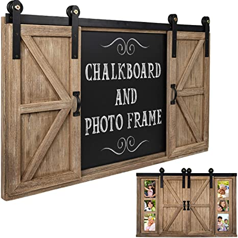 Amazon.com: Rustic Wood Chalkboard with Four 4x6 Hideaway ...