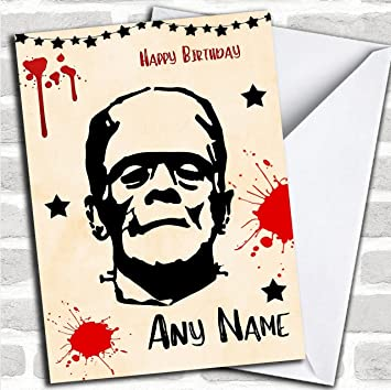 Frankenstein Scary Customised Birthday Greetings Card Cards Horror Horrid