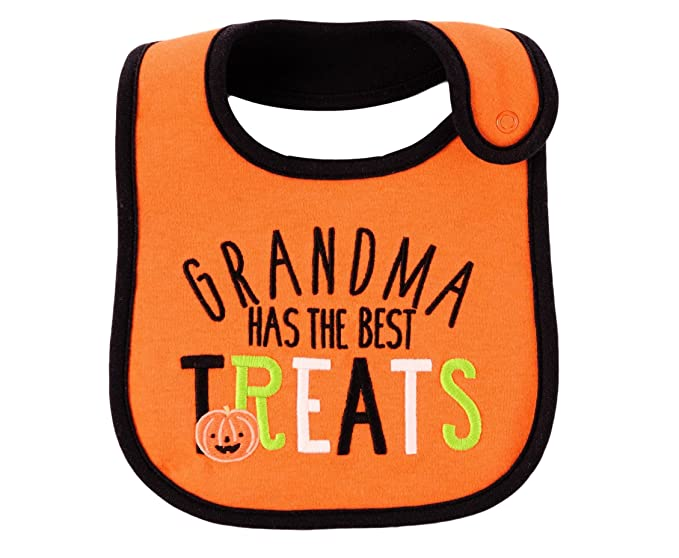carters just one you neutral baby halloween bib orangeblack grandma has
