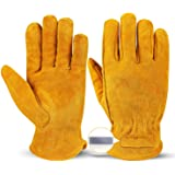 OZERO Leather Work Gloves Flex Grip Tough Cowhide Gardening Glove with a Detachable Magnet for Holding Nails for Car…