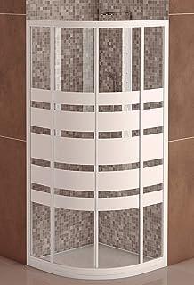 Box ducha de cristal templado 6 mm semicircular 2 lados – con apertura central deslizante 70 x 90 cm, H 185 cm), transparente: Amazon.es: Hogar