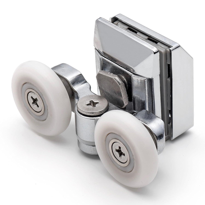 2 x Twin Top Zinc Alloy Shower Door Rollers L020 //Runners//Wheels 23.3mm wheel diameter