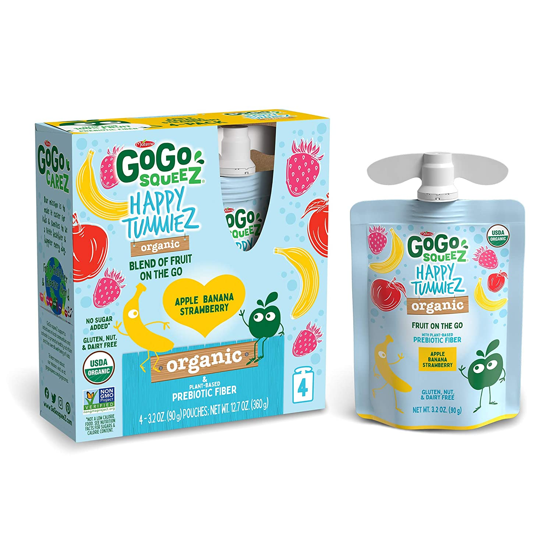 GoGo squeeZ happy tummieZ, Organic Apple Banana Strawberry, 3.2 Ounce (24 Pouches), USDA Organic Certified, Fruit Pouches with Prebiotic Fiber, Kosher, Vegan