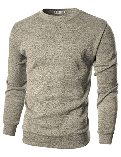 Ohoo Mens Slim Fit Crew Neck Pullover Sweater by Ohoo
