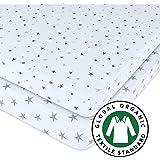 Gots Certified Organic Pack N Play Portable Crib Sheet Set 100% Jersey Cotton 2 Pack - Grey Star Print