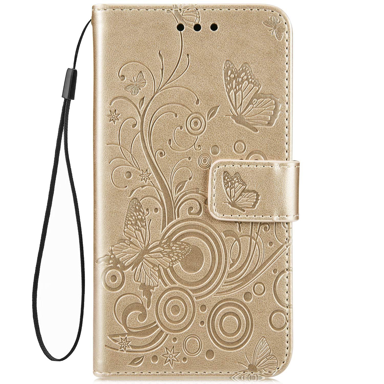 Hpory Housse Compatible avec iPhone 6 Plus//iPhone 6s Plus 5.5 Coque Portefeuille en Cuir PU Etui /à Rabat Book Style Housse de Protection en Relief Papillon Butterfly Magnetique Case Cover,Vert