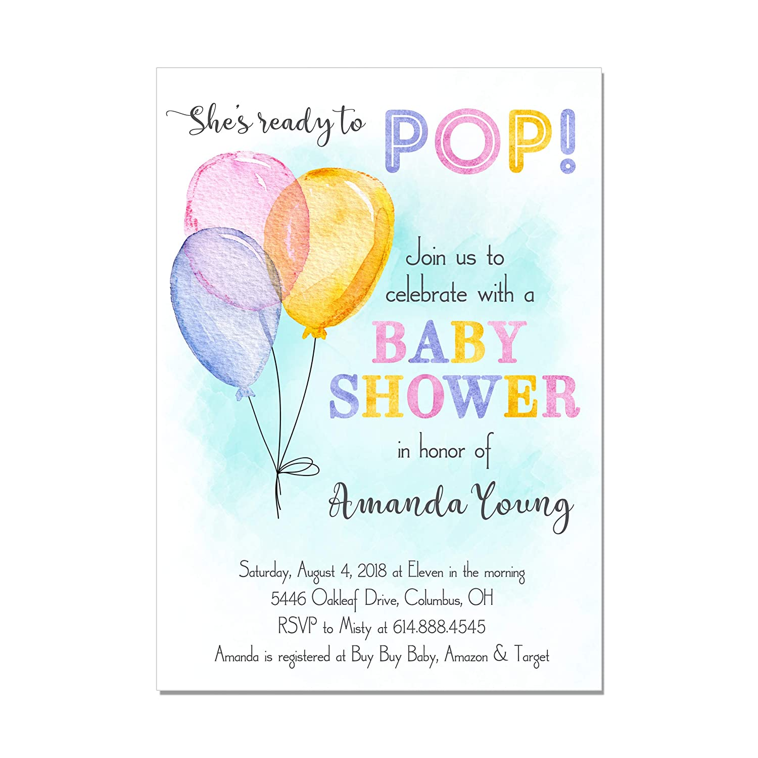 Amazon.com: Watercolor Balloon Ready to Pop Baby Shower Invitations, Base  price is for a set of 10 5x7 inch card stock invitations with white  envelopes: ...