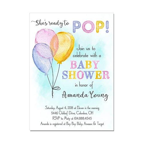 Amazon watercolor balloon ready to pop baby shower invitations watercolor balloon ready to pop baby shower invitations base price is for a set of filmwisefo