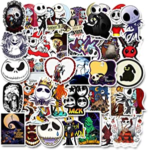 Nightmare Before Christmas and Tim Burton's Stickers| 50 PCS | Vinyl Waterproof Stickers for Laptop,Skateboard,Water Bottles,Computer,Phone, Halloween Theme,(Halloween-50PCS)