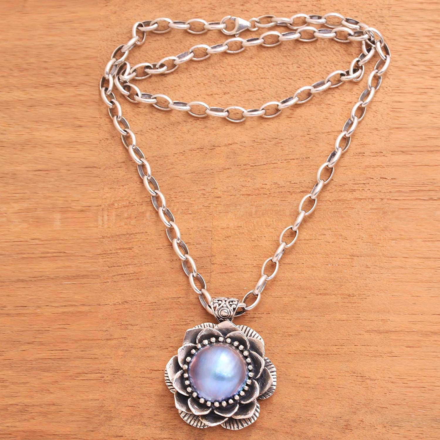 19.75 NOVICA Dyed Blue Cultured Freshwater Pearl .925 Sterling Silver Necklace Sky Lotus