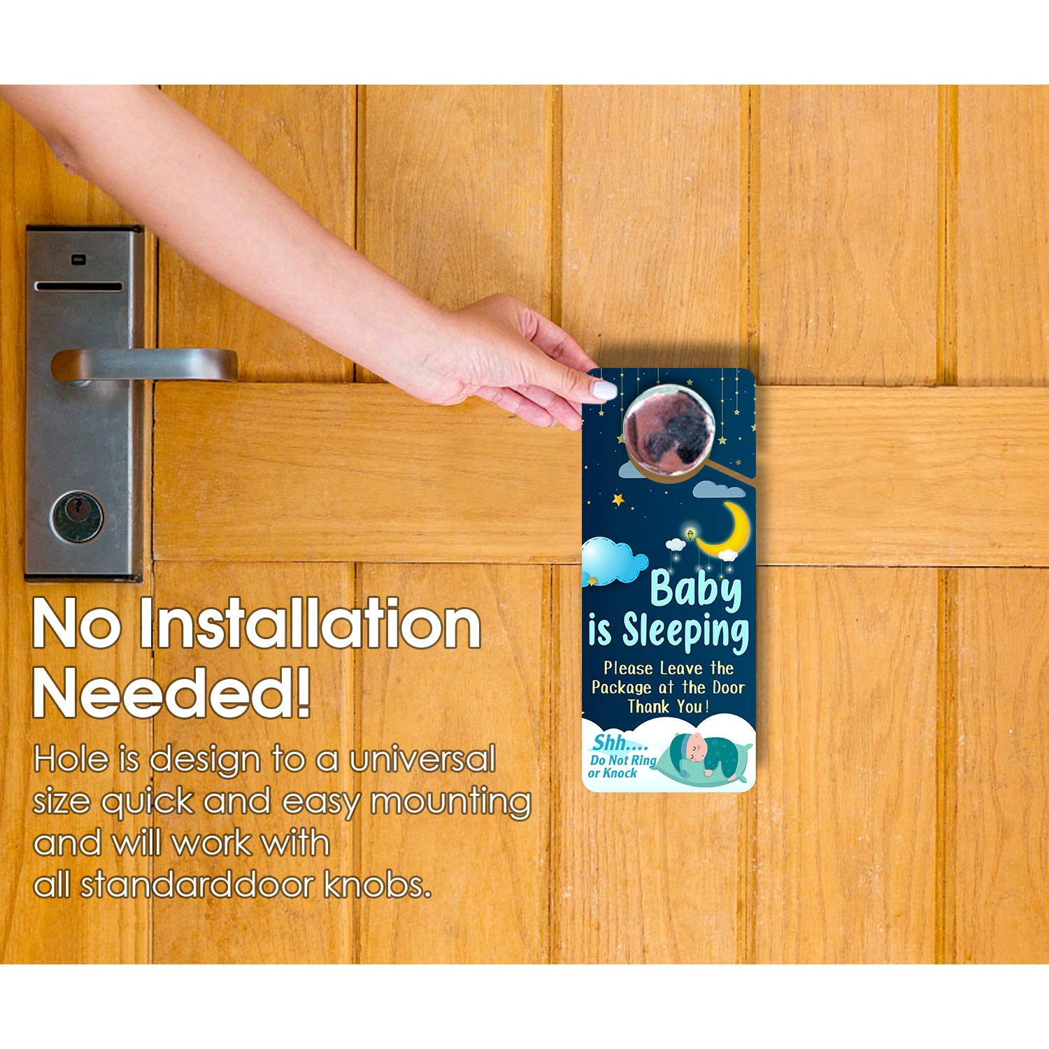 Weatherproof Do Not Knock or Ring UV Printed Door Knob Hanger Sign,3.5 x 8.7 Inch Double Sided Premium Quality PVC Plastic Baby Sleeping Sign 8 Pack Long Lasting