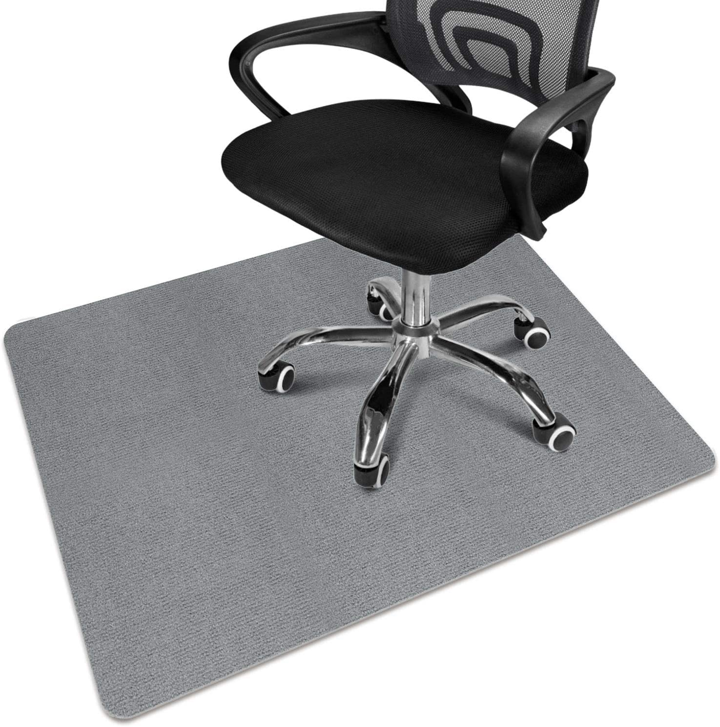 """Office Chair Mat, Desk Chair Mat for Hardwood Floor, Computer Chair Mat for Rolling Chair, Multi-Purpose Low Pile Desk Chair Mat 47""""x 35"""" Large Anti-Slip Floor Protector Rug 0.16"""" Thick (Gray)"""
