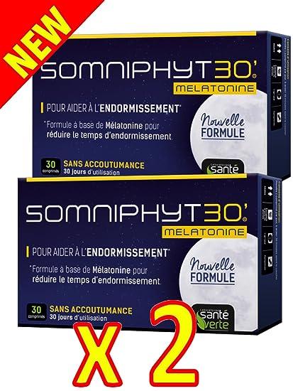 Sante verde somniphyt Melatonina 1 Mg nueva fórmula – Lote de 2 x 30 comprimés