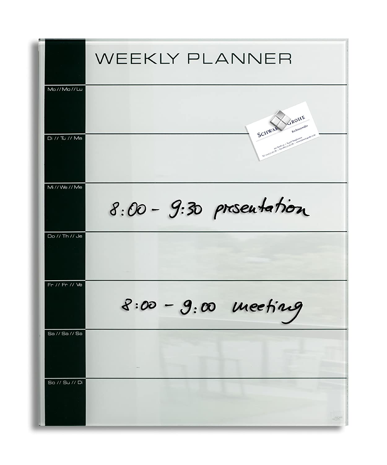Lavagna magnetica in vetro artverum�, weekly planner, bianca/nera, 40 x 50 cm Sigel GL152