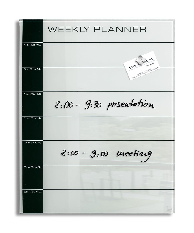 Lavagna magnetica in vetro artverum�, weekly planner, bianca/nera, 40 x 50 cm Sigel GL152