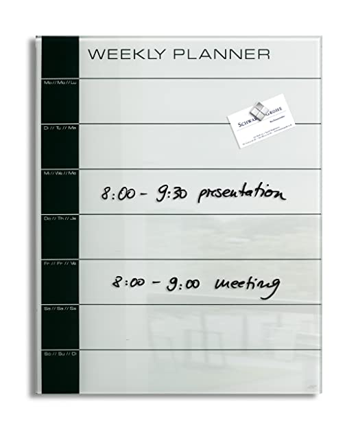 2 opinioni per Lavagna magnetica in vetro artverum�, weekly planner, bianca/nera, 40 x 50 cm