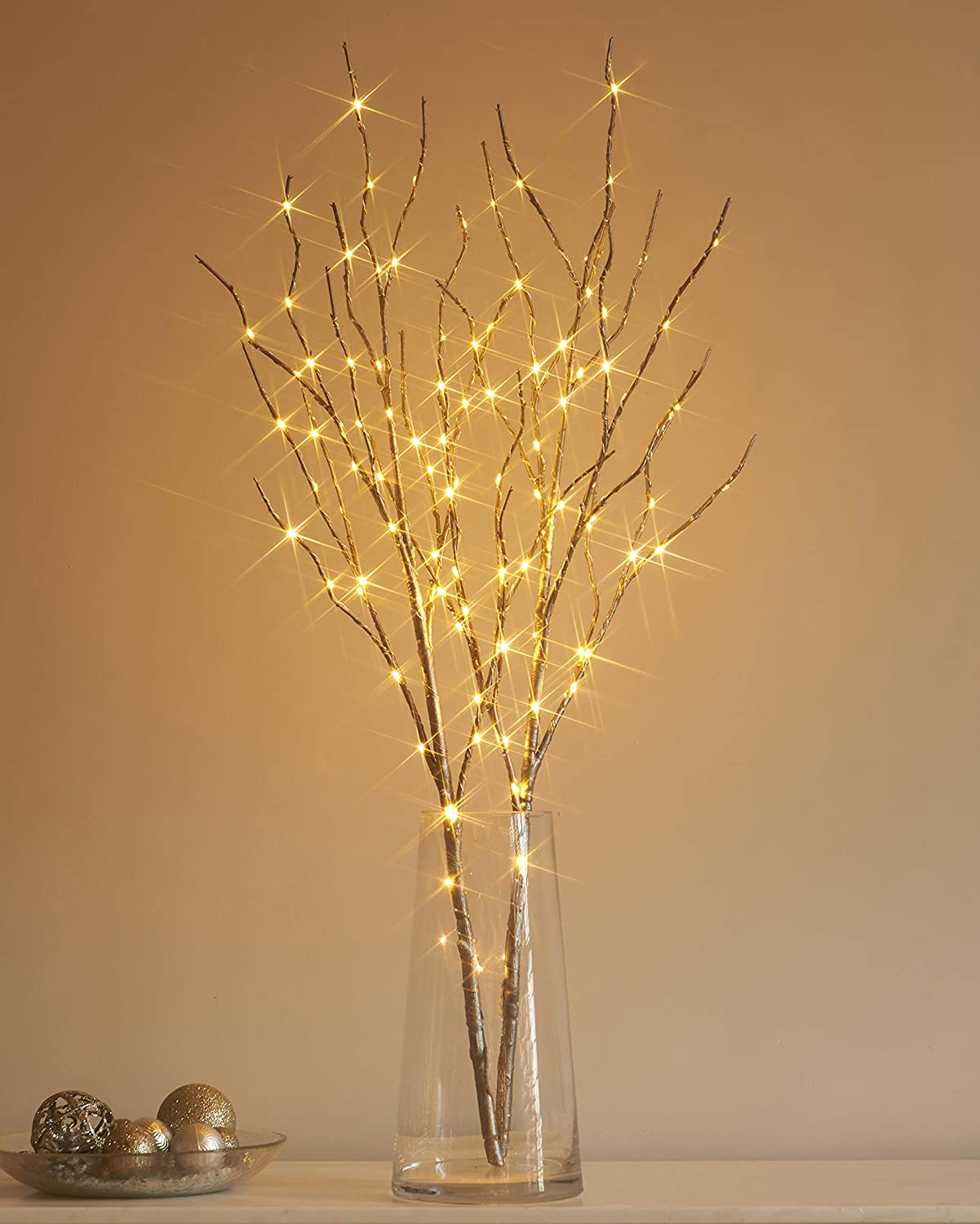Hairui Lighted Silver Artificial Twig Branch with Fairy Lights 32in 100 LED Battery Operated Lighted Willow Branch for Christmas Easter Wedding Spring Decoration (Vase Excluded)