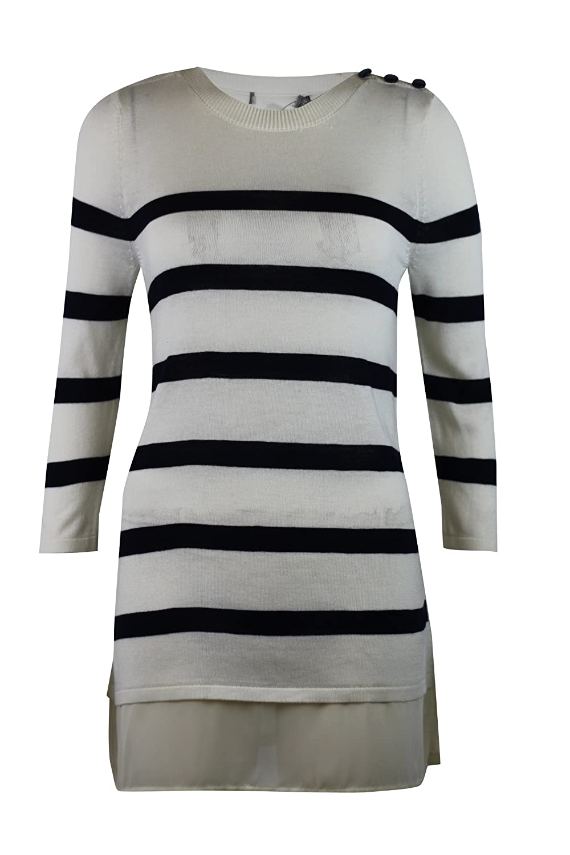 Ex Famous brand Ladies Maternity Stripe Striped Faux Hem Loose Jumper Tunic White Blue 6 10