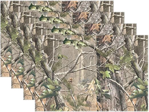Place Mats Real Tree Camo Camouflage Rustic Set 6 Table Kitchen Decor Gift New