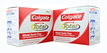 Colgate Waxed Dental Floss For Improved Mouth Health - Pack of 12 (2 Box  25Mtr  Each) Original
