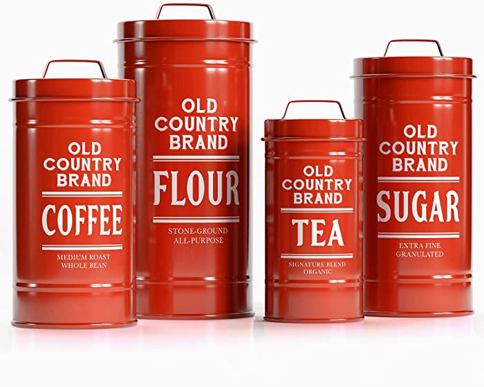 """Barnyard Designs Decorative Nesting Kitchen Canister Jars with Lids, Bright Red Metal Rustic Vintage Farmhouse Container Decor for Flour Sugar Coffee Tea Storage, Set of 4, Largest is 5.5"""" x 11.25"""""""