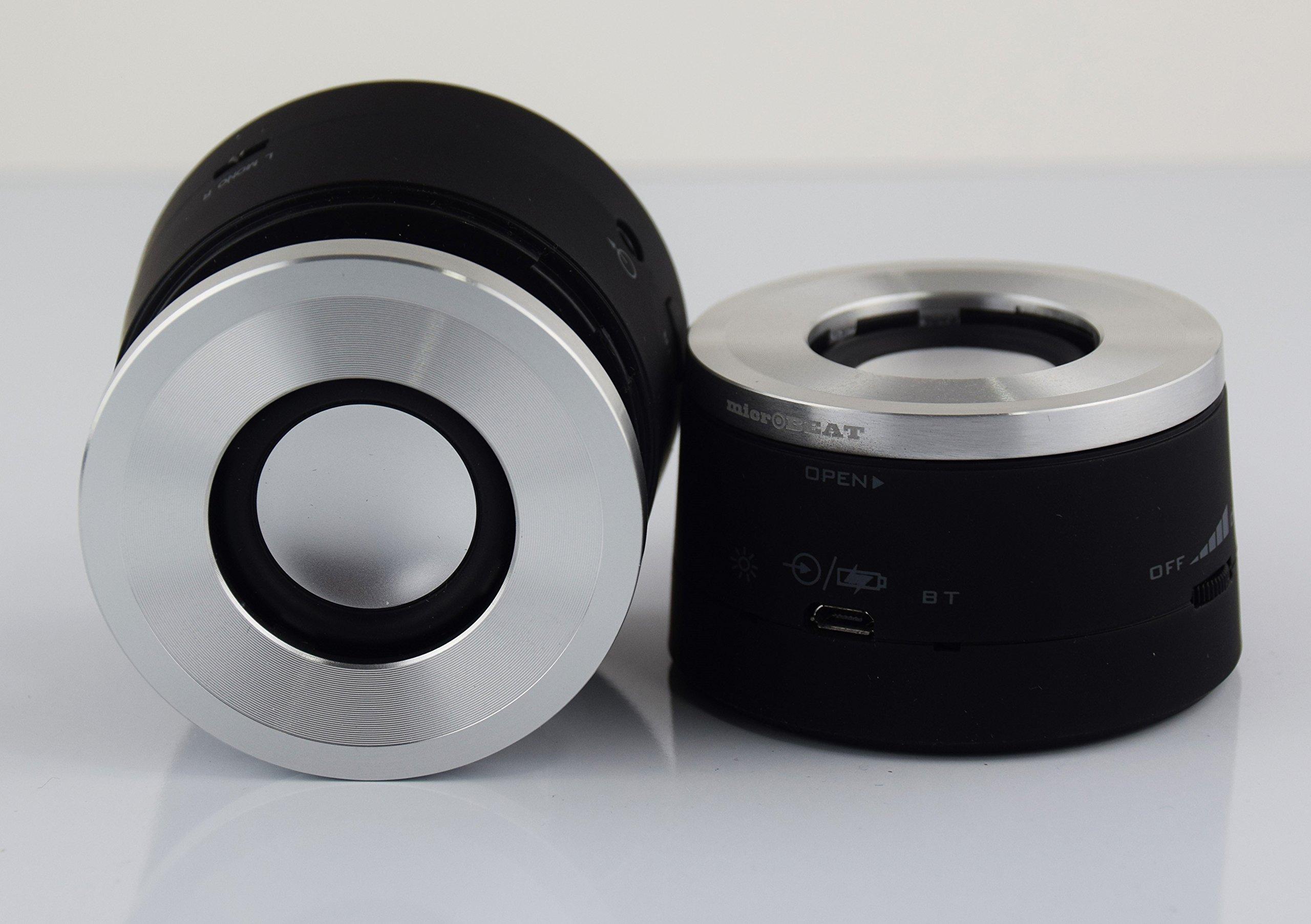 DJP MicroBEAT DJP Speaker System IN SILVER: Pack of 2 stereo wireless speakers (Bluetooth, 3D Sound Effect) by SECUWARE