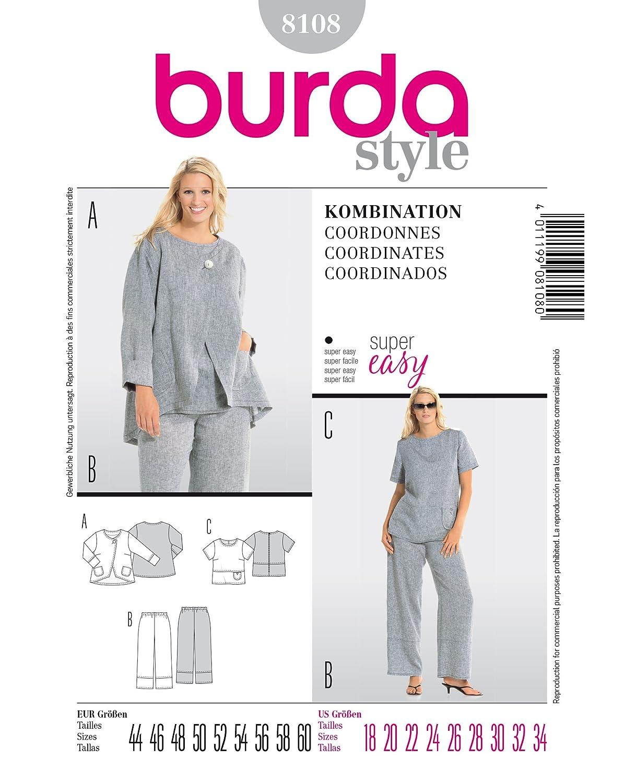 Burda Schnittmuster 8108 Kombination Gr. 44-60: Amazon.de: Küche ...
