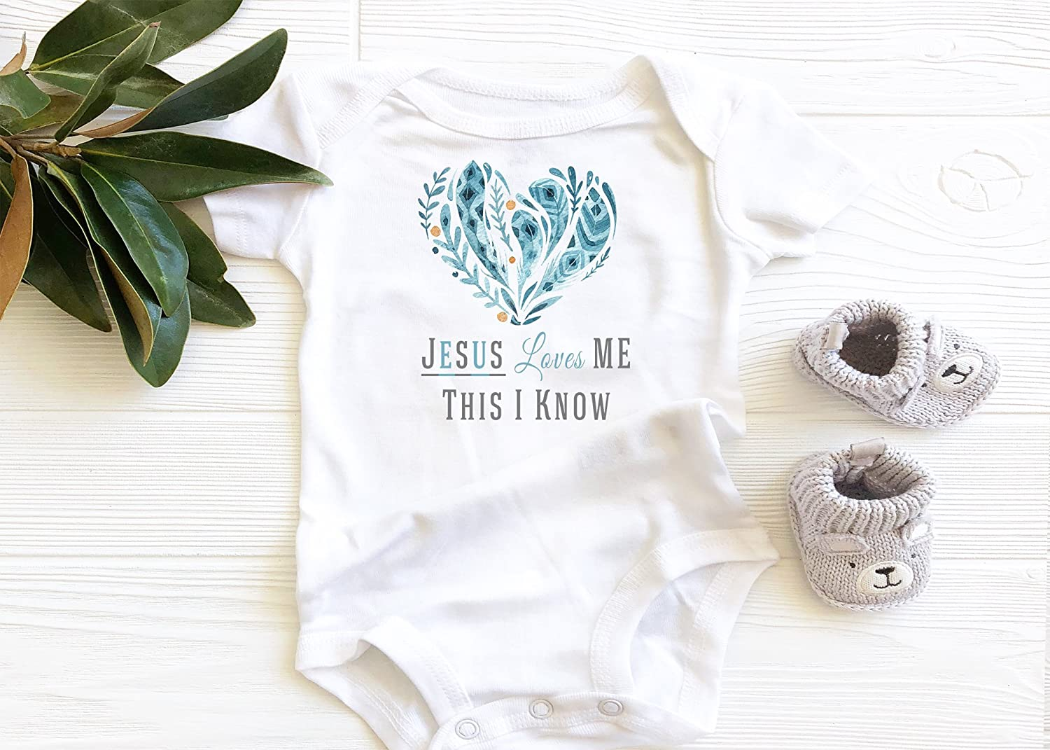 Jesus loves Me Baby Bodysuit, Boho Baby Girl heart Onesie, Floral Feathers christian faith scripture onesie
