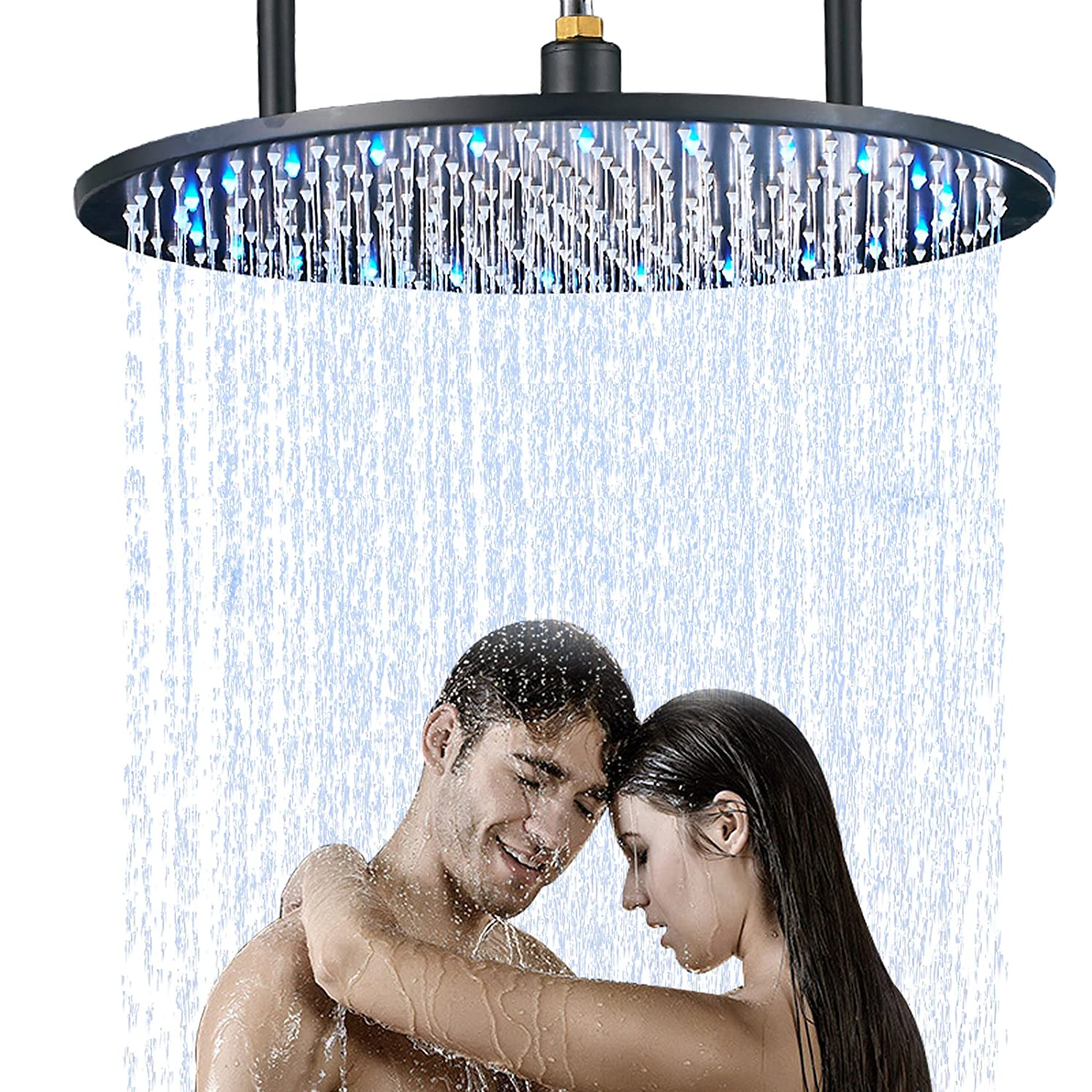 Senlesen Bathroom 20-inch Round LED Light Rainfall Top Shower Head Ceiling Mounted Black Color