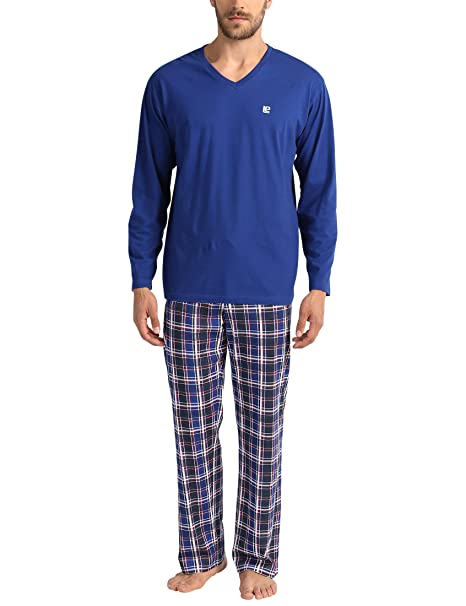 Lower East Le240, Pijama Hombre, (Blau/weiß/Rot), Small