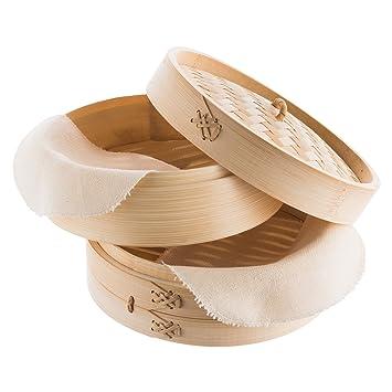 Reishunger Vaporera de bambú (Ø 20 cm, 2 Pisos) para arroz, Dim