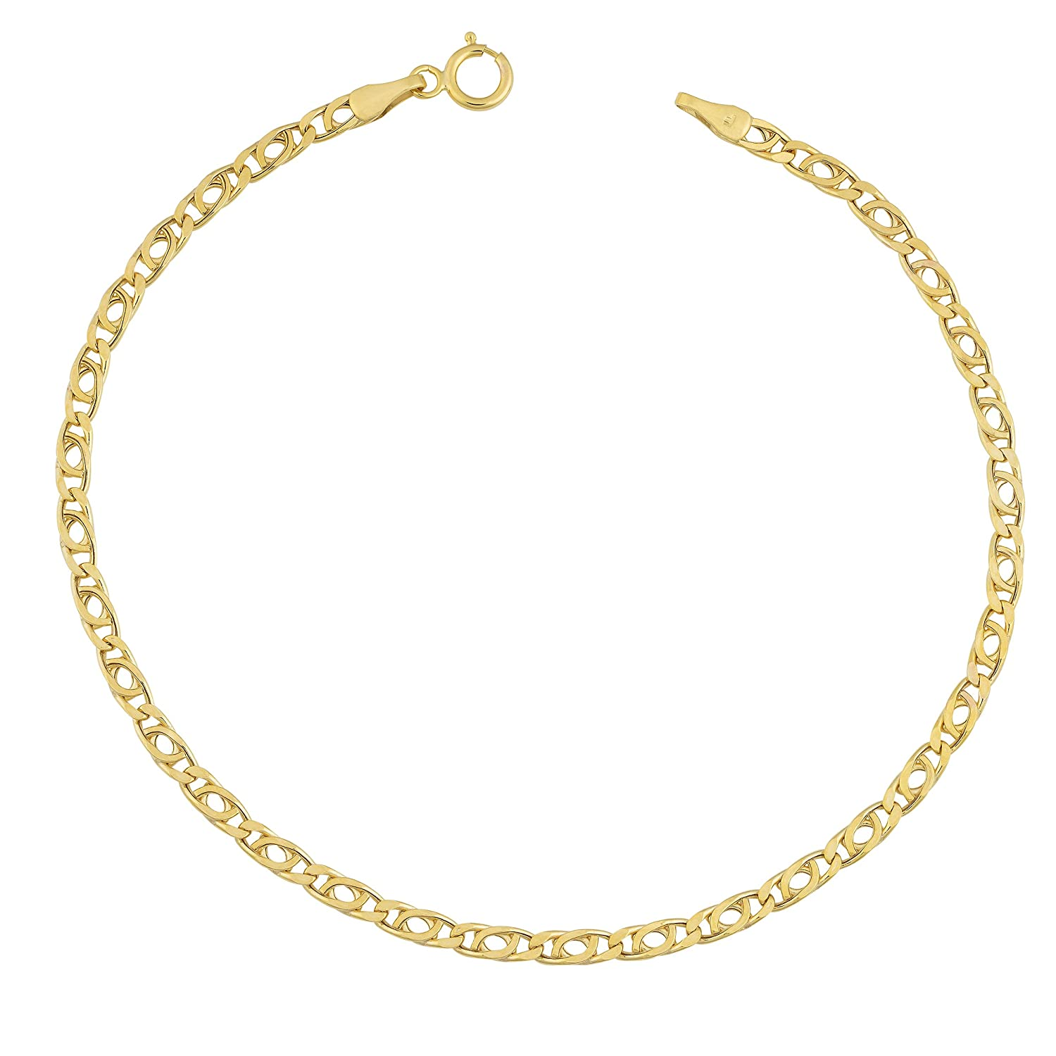 10k Yellow Gold 2.5mm High Polish Hollow Flat Link Bracelet (7.5 inch)