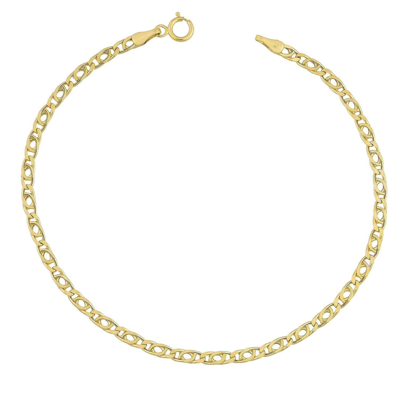 10k Yellow Gold 2.5mm High Polish Hollow Flat Link Bracelet (7.5 inch)