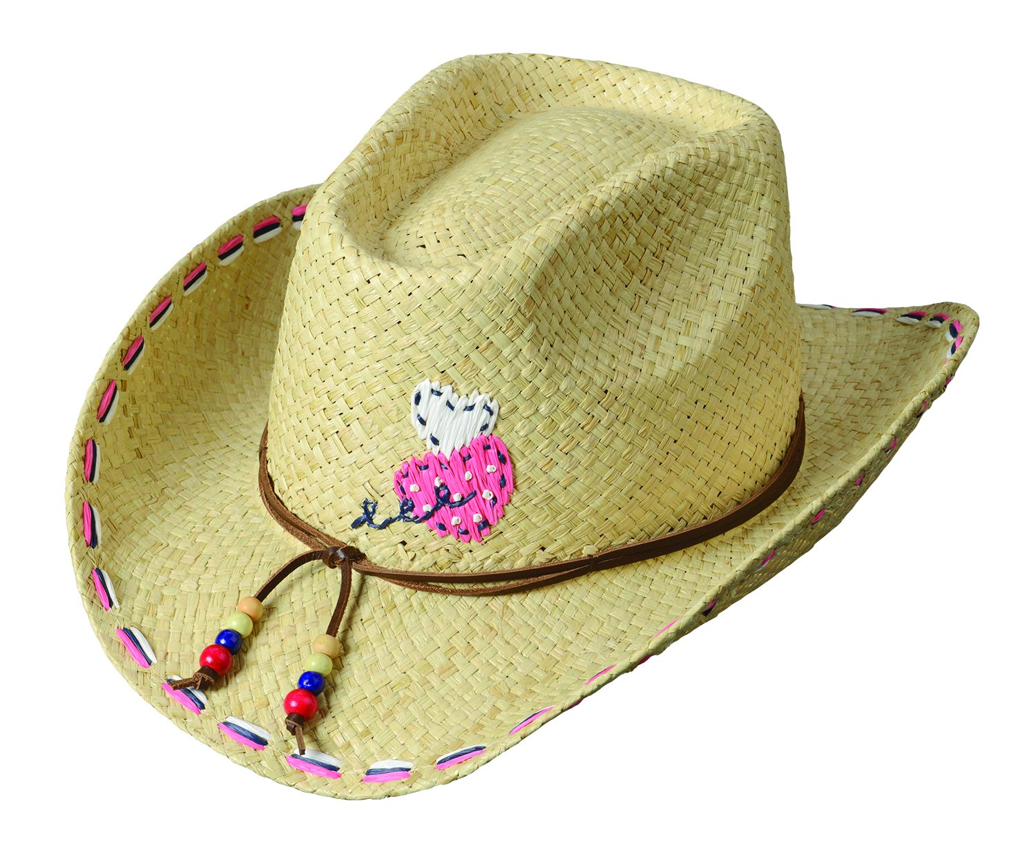 Broner Girls Straw Western Hat with Colorful Stitching on The Brim. 4-7 Years.